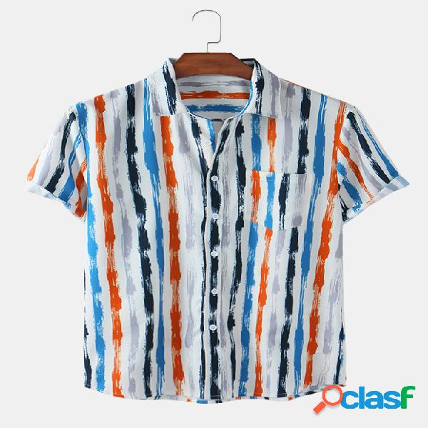Mens Colorful Striped Printed Pocket Casual Camisas de manga