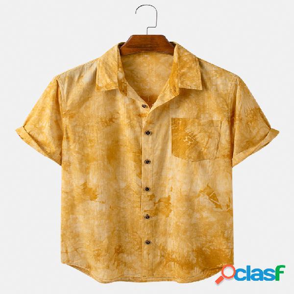 Mens Cotton Print Casual Loose Light Camisas de manga curta