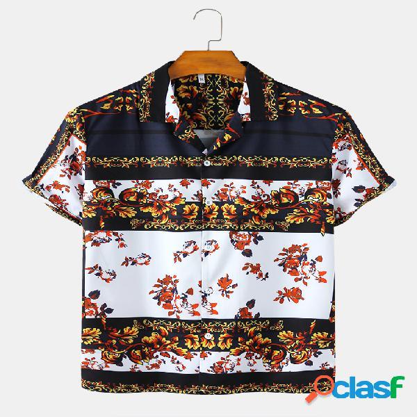 Mens Floral Impresso Color Block Revere Collar Camisas de