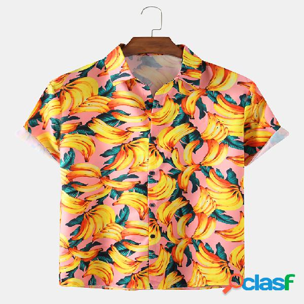 Mens Holiday 3D Banana Printed Light Casual Camisas de manga