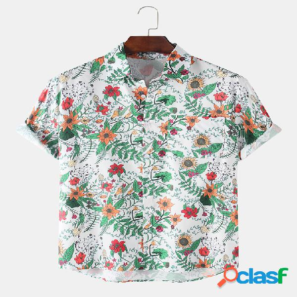 Mens Holiday Floral Printed Light Casual Camisas de manga