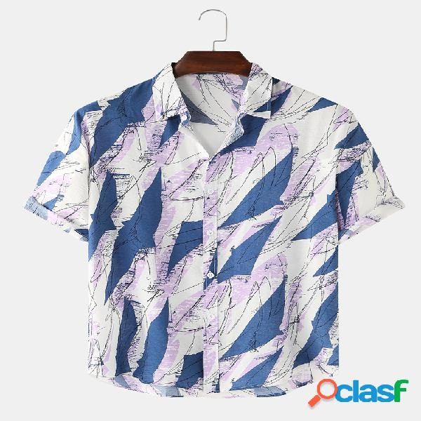 Mens Holiday Printed Light Casual Camisas de manga curta