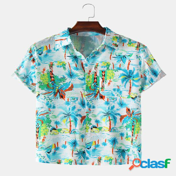 Mens Holiday Tropical Planta Impresso Light Casual Camisas