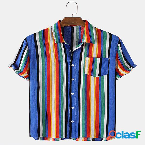Mens Multi-Color Striped Print Casual Light Thin Camisas de