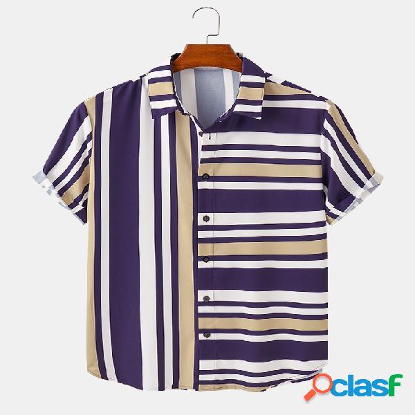Mens Multi-Color Stripes Print Casual Loose & Light Camisas