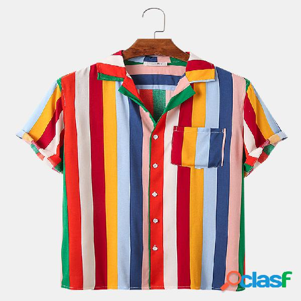 Mens Rainbow Colors Striped Print Holiday Light Camisas de
