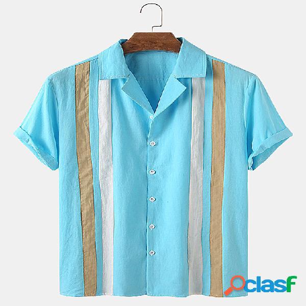 Mens Simple Striped Print Casual Summer Light Camisas de