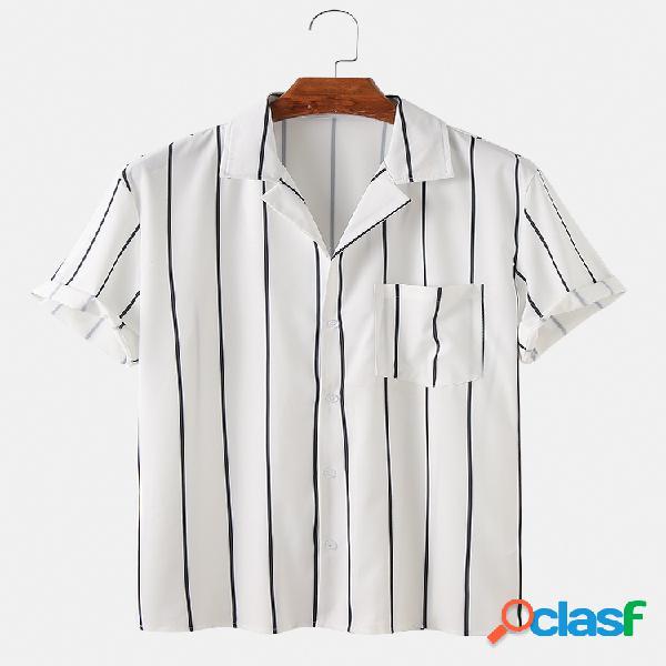 Mens Simple Stripes Print Casual Chest Pocket Camisas de