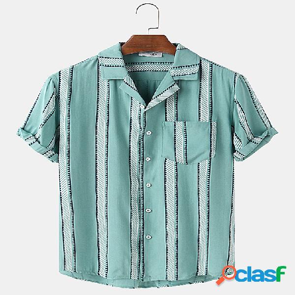 Mens Striped Print Loose Light Casual Camisas de grife de