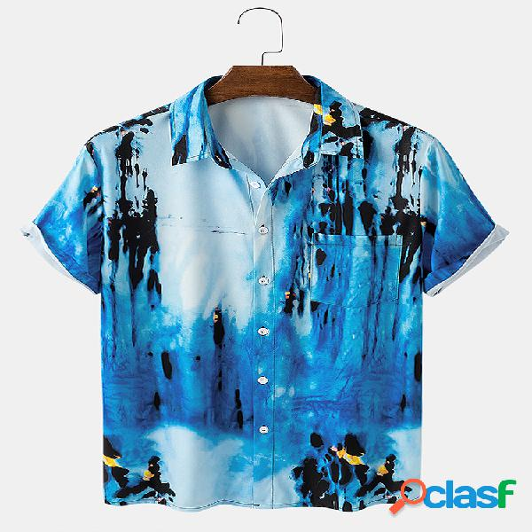 Mens Tie Dye Print Casual Summer Light Designer Camisas de