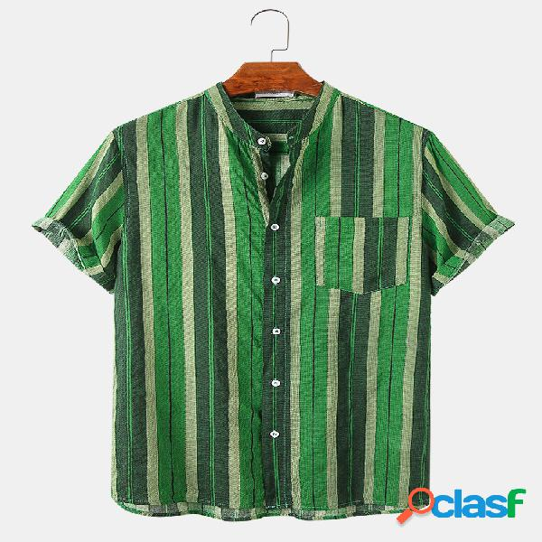 Mens Vertical Stripes Print Loose Light Casual Camisas de