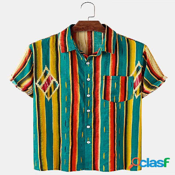 Mens Vintage & Colorful Striped Print Light Casual Camisas