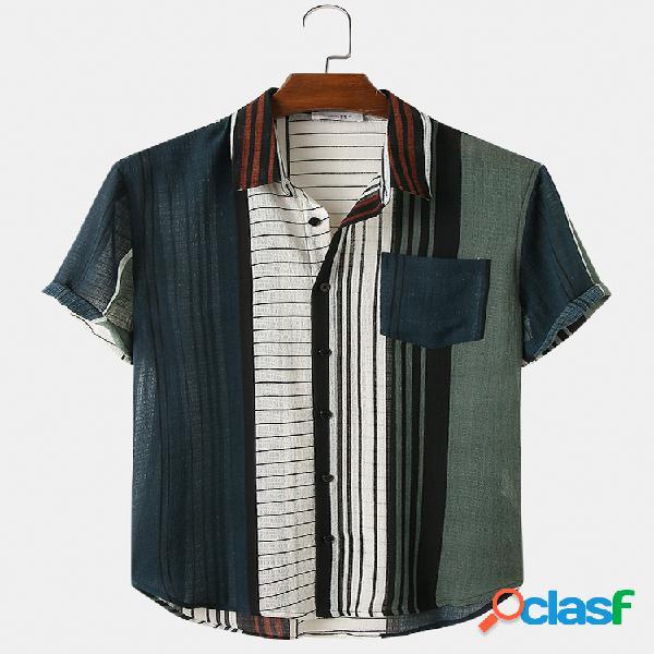 Mens Vintage Style Stripes Print Light Casual Camisas de