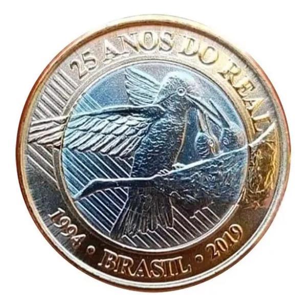 10 moedas de 1 real do beija-flor, comemorativa dos 25 anos