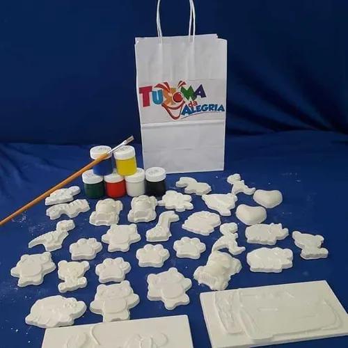 Kit Gesso Para As Crianças Com Pincel E Tintas