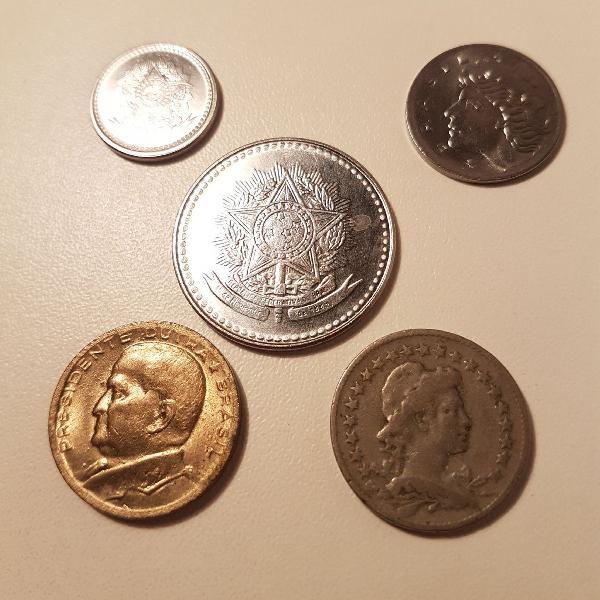 Kit com 10 moedas antigas do Brasil