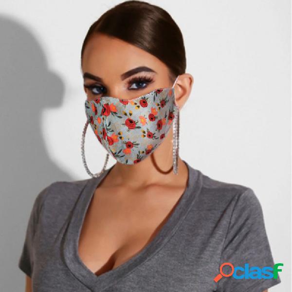 Floral de algodão multicolor Máscara Rosto de impressão