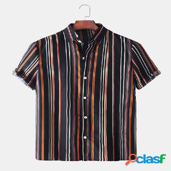 Mens Color Striped Light Casual Camisas de manga curta