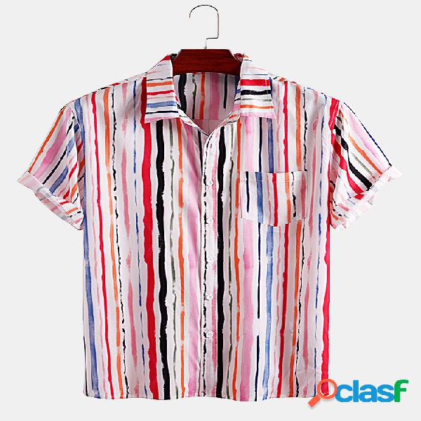 Mens Colorful Stripe Print Casual Loose Light Camisas de