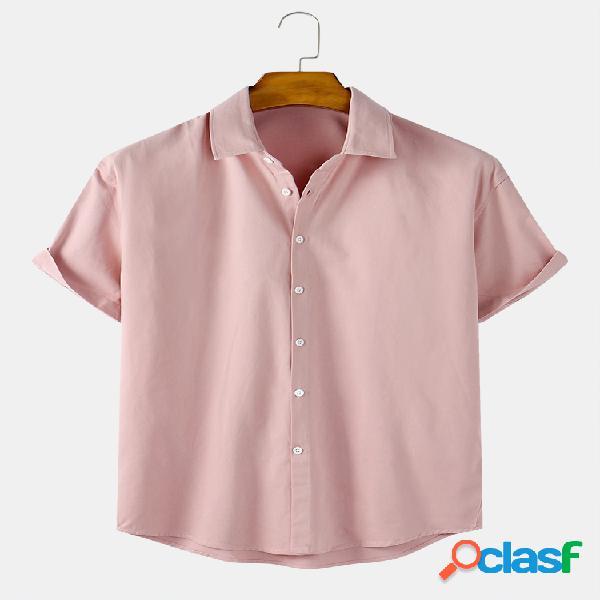 Mens Solid Color Cotton Respirável Casual Camisas de manga