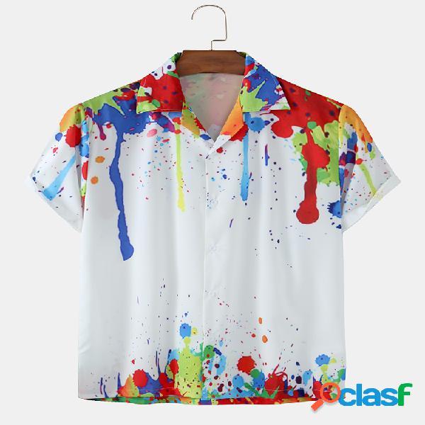 Mens Watercolor Printed Light Revere Collar Camisas de manga