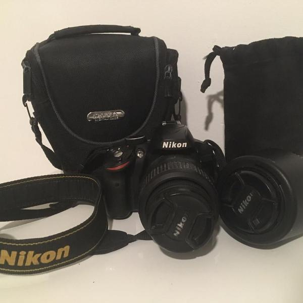 nikon d3200 + lente + (2) cartões de memoria