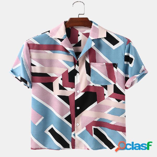 Mens Colorblock Print Casual Light Chest Pocket Camisas de