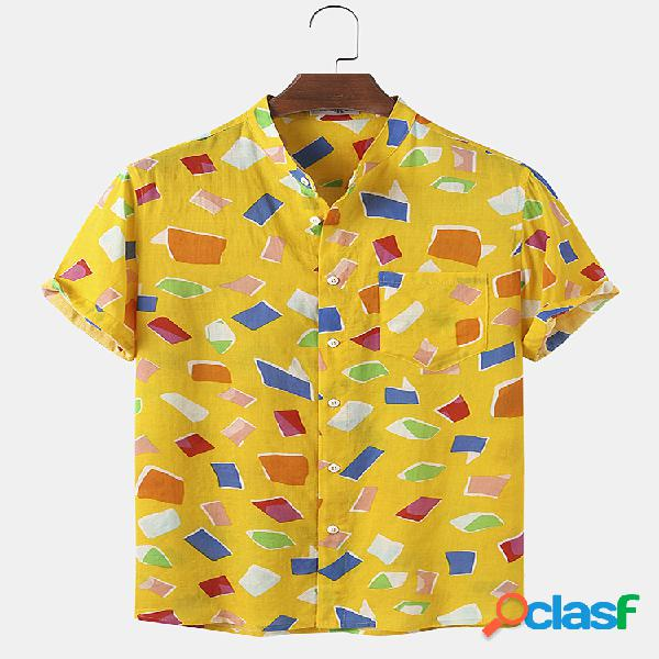 Mens Cotton Colorful Geometric Print Light Casual Camisas de