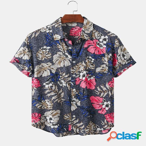 Mens Cotton Vintage Floral Print Casual Light Camisas de