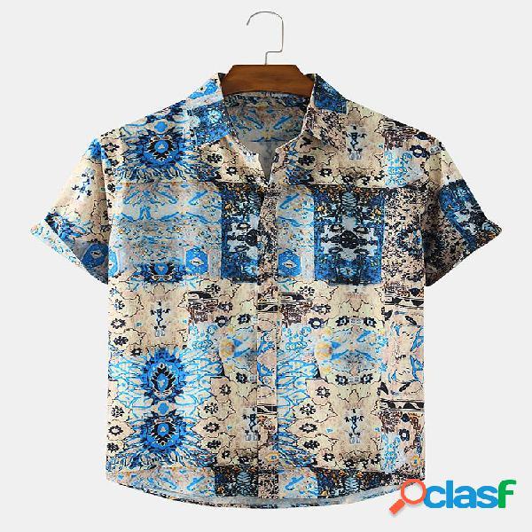 Mens Ethnic Print Casual Loose Light Lapel Collar Camisas de