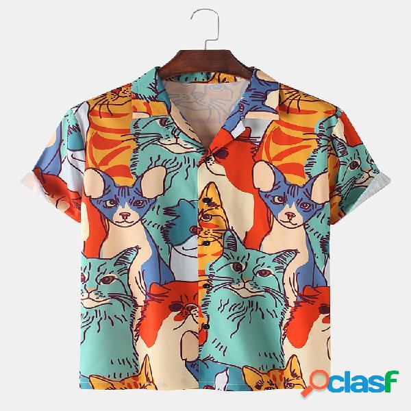 Mens Multi-Color Cat Print Loose Light Casual Camisas de