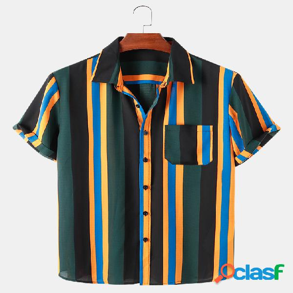 Mens Multi-Color Striped Print Casual Light Camisas de manga