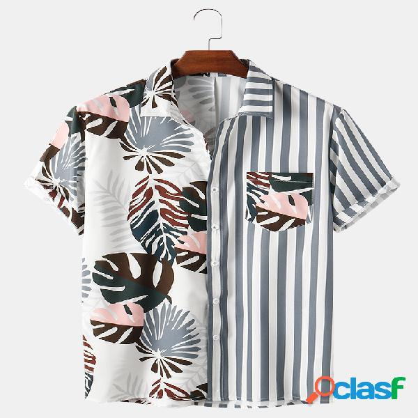 Mens Patchwork Striped & Planta Print Casual Light Camisas