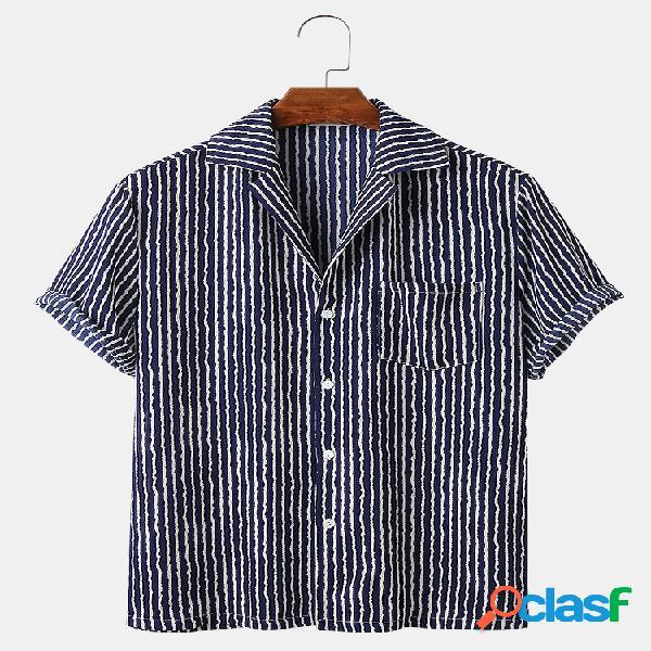 Mens Pinstripe Print Casual Thin Revere Collar Camisas de