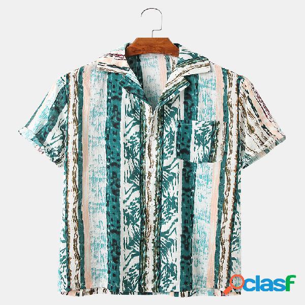 Mens Stripe Print Casual Loose Light Designer Camisas de