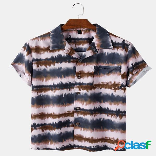 Mens Tie Dye Striped Print Loose Light Casual Camisas de
