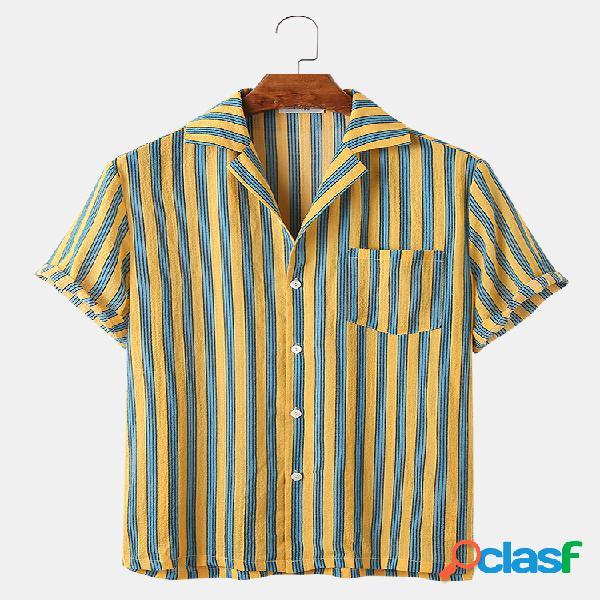 Mens Vertical Striped Casual Light Revere Collar Camisas de