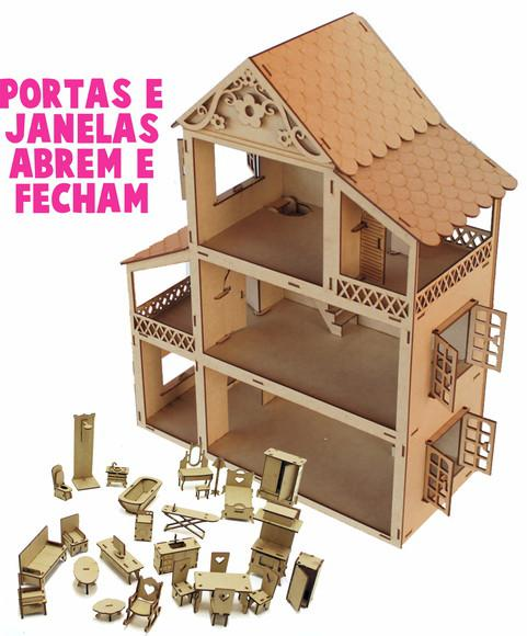 Casa Casinha P/ Boneca Polly +27 Mini Moveis Mdf Cru