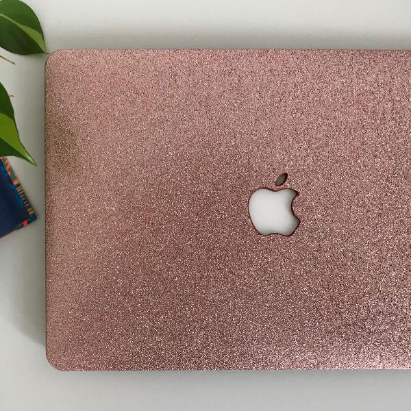 case capa macbook 11 air glitter rosa pink c/ película