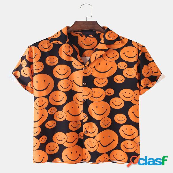 Mens Cartoon Smile Face Print Revere Collar Camisas de manga