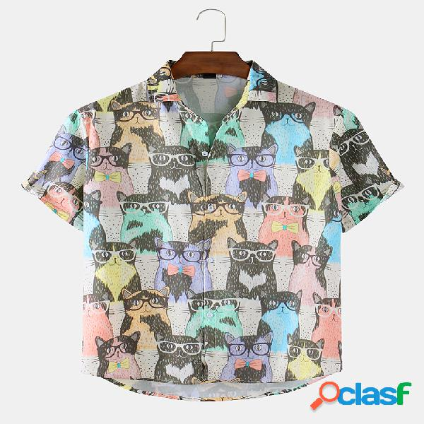 Mens Colorful Cartoon Cat Print Loose Light Casual Camisas