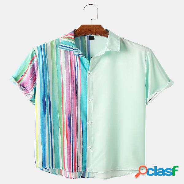 Mens Colorful Striped & Patchwork Light Casual Camisas de