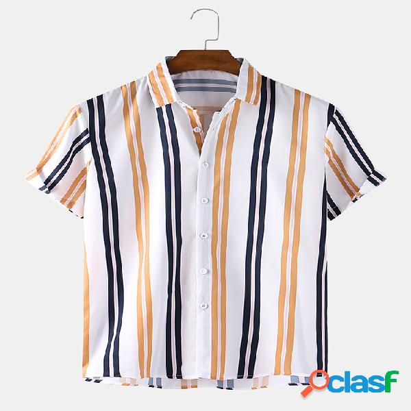 Mens Cotton Striped Print Simples Loose Light Casual Camisas