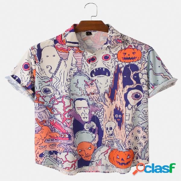 Mens Halloween Ghost Print Loose Light Casual Camisas de