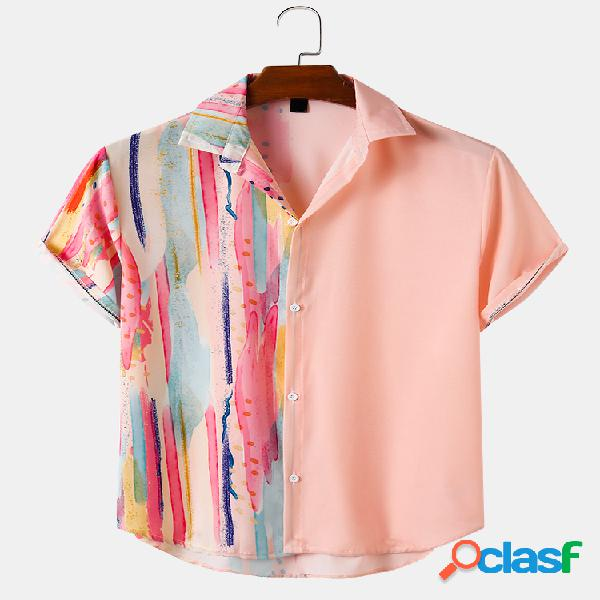 Mens Patchwork & Colorful Stripes Print Casual Light Camisas