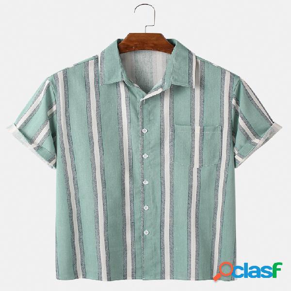 Mens Vintage Striped Light Casual manga curta camisas de