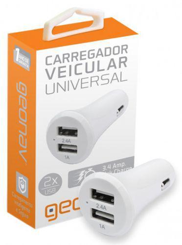 Carregador USB Universal Para Carros - Com 2 Portas USB -