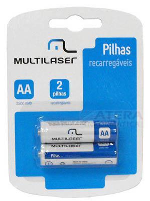 2 pilhas recarregáveis Multilaser CB053 tipo AA 2500mAh