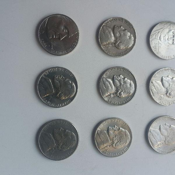 Lote com 9 moedas Five Cents USA