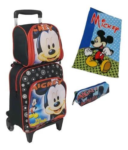 Bolsa Escolar Infantil Mickey Criança Creche Rodinhas Kit P